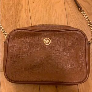 Michael Kors MK Brown Leather Crossbody Bag